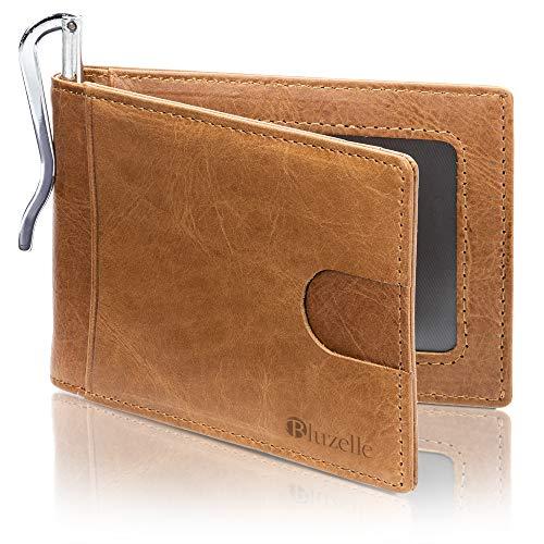 bluzelle Cartera de Cuero Auténtico con RFID Protección & Clip de Dinero - Tarjetero Compacto, Billetera Minimalista, Slim Card Holder, Color:Marrón