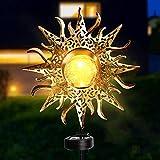 FGSDS Sun Solar Lights Garden Outdoor, Waterproof Metal Sun Decorative Stakes for Patio Decor, Walkway, Lawn, Yard
