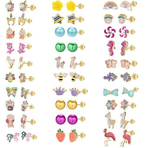 OAONNEA 30 Paia di Kids Orecchini Ipoallergenici per Bambina Anallergici Gioielli (Multicolore)