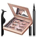 Magnetic Eyelashes with Eyeliner 3 Pairs Reusable Fake Eyelashes No Glue 3D eyelash sets Beautiful Gifts for Women