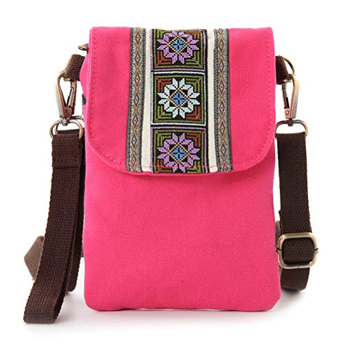 Vintage Embroidered Canvas Small Flip Crossbody Bag Cell Phone Pouch for Women Wristlet Wallet Bag Coin Purse (Fuchsia 04)