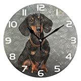 ALAZA Vintage Dog Dachshund Portrait Round Acrylic Wall Clock, Silent Non Ticking Oil Painting Home Office School Decorative Clock Art