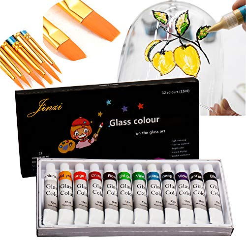 Jinzi Stained Glass Paint, Lacquer Based for Superior Stained Glass Art Paint, Permanent Window Paint(12 Colors x 0.84 fl.oz) (12colors12ml)