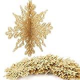 Aitsite 16 PCS Adornos de Copos de Nieve con Purpurina 3D Arbol Navidad Adornos de 4 Pulgadas para Adornos Arbol Navidad Boda de Fiesta Hogar Decoraciones para Festivales - Dorados