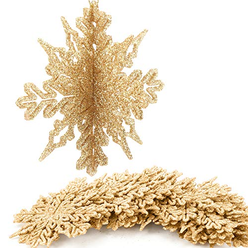 Aitsite 16 Pezzi di Fiocchi di Neve Glitter 3D, Artigianato da Appendere in plastica da 4 Pollici per Feste di Matrimonio Natalizie e Decorazioni per la casa, Oro