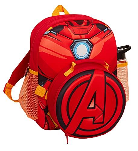 Iron Man Rucksack mit Avengers, isolierte Lunchtasche, Kühltasche, Wasserflasche, offizielles Marvel-Matching-Set, 3-teiliges Set für Jungen zum Schulanfang, Rucksack für Reisen