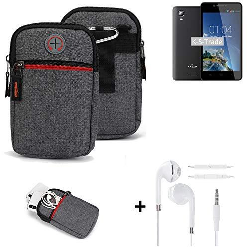 K-S-Trade Gürtel-Tasche + Kopfhörer Für Kazam Trooper 2 6.0 Handy-Tasche Holster Schutz-hülle Grau Zusatzfächer 1x