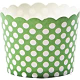 Simply Baked Small Paper Baking Cup, Green with White Dot, 25-Pack, Entertain with Ease and Style, Serve Cupcakes, Ice cream, Appetizers and More by Simply Baked
