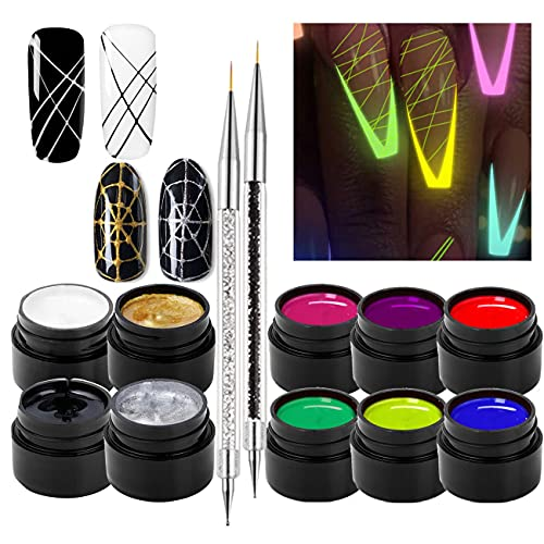 10 Colors Luminous Spider Gel, UV Gel Nail Polish with 2 Nail Art Line Pen Tools DIY Glow in The Dark Nail Art Drawing Gel for Line Neon Fluorescent Effect Manicure Decorations for Party Dance
