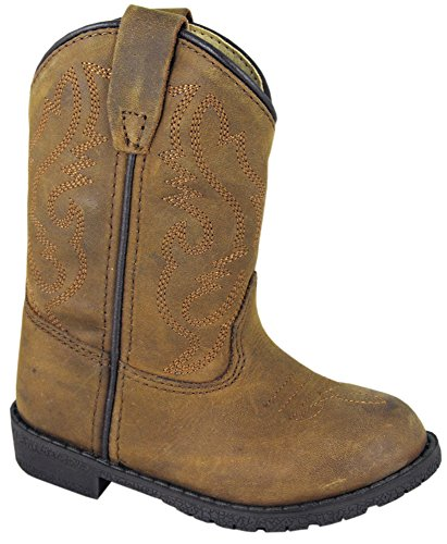 Smoky Children's Kid's Toddlers Brown Distress Leather Western Cowboy Boot