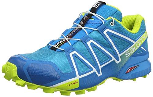 Salomon Homme Speedcross 4, Chaussures de Trail Running, Bleu (Hawaiian Surf/Acid Lime/White), Pointure: 41 1/3