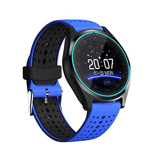 Watch Uhr Smart Watch-Runder Bildschirm Herzfrequenzkartenanruf-Foto-Kamera-Uhr 1,2 Zoll - Blau