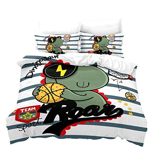 BLZQA Bedding Set 3D Green Football Dinosaur Textile Design Decorative 3 Pieces Bedding Set with 1 Duvet Cover 2 Pillowcase King (78.7 x 78.7 inches)