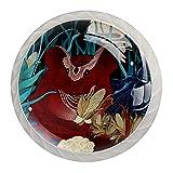 Manija de cajón perilla de tocador perilla de cajón perillas de gabinete tiradores de cajón para decoración de cocina de baño de oficina (4 piezas)Rata del zodiaco chino rojo