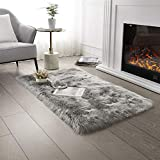 Ultra Soft Faux Fur Area Rug Grey Fluffy Rug Plush Chair Cover Seat Pad Fuzzy Carpet Furry Beside Rugs for Bedroom Floor Sofa Living Room 2x4 Feet SERISSA (Light Grey)