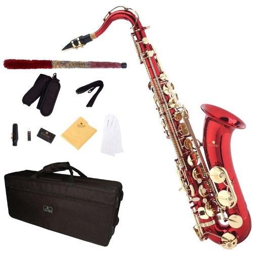 Cecilio TS-280RL - Kit de saxofón tenor (para nivel principiante, níquel), color rojo