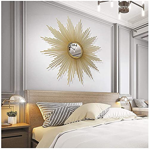 H-BEI Colgante de Pared Decorativo en Forma de Resplandor Solar, Pared Redonda de Resplandor Solar Dorado Cepillado, Estilo Moderno de Mediados de Siglo, Espejos de Pared Redondos para s