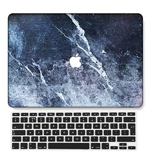 GangdaoCase Plastic Ultra Slim Light Hard Shell Case Cut Out Design Compatible New MacBook Pro 15 inch with Touch Bar/Touch ID with UK Keyboard Cover A1707/A1990 (Marble A 230)