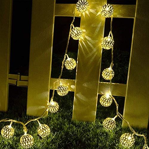 LED Lichterketten im Freien, SUAVER 15,7ft 20LED Laternen Geometrische Metall Solar Lichterketten, Dekoration Lichter für Weihnachten Garten Rasen Patio Bäume Hochzeiten Parteien (Marokkanischer Ball)