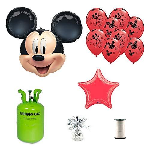 Pack de Globos y Helio con Pesa y Cinta para Fiesta de Cumpleaños Mickey