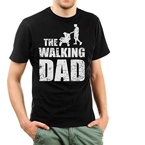 Shirtinator Lustiges T-Shirt für Herren Männer I Geschenk für (werdenden) Papa I The Walking Dad I Original (Schwarz, XXL)
