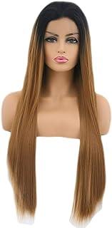 ファッショナブルな女性のかつら、長いストレートの髪のかつら、任意の頭の形のための高温ワイヤー調節可能なかつら16-26インチの自然なフロントレースのグラデーション