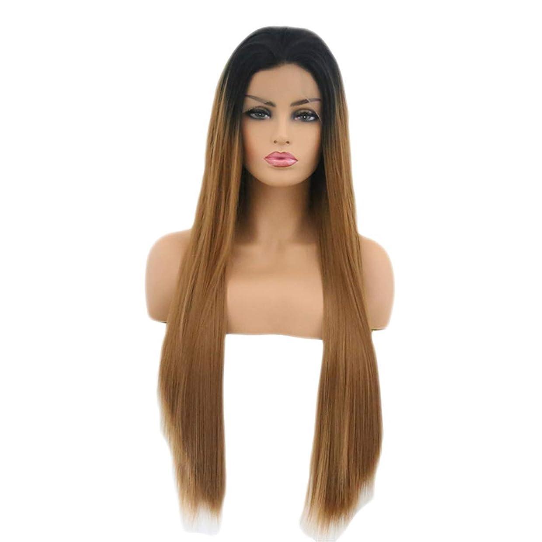 厳しいバス特徴づけるファッショナブルな女性のかつら、長いストレートの髪のかつら、任意の頭の形のための高温ワイヤー調節可能なかつら16-26インチの自然なフロントレースのグラデーション