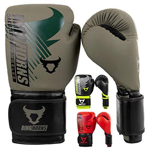 Ringhorns Charger MX Guantes de Boxeo, Unisex-Adult, Verde Caqui/Negro, 14Oz