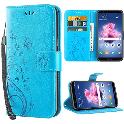 iDoer Hülle Kompatibel Mit Huawei P smart Schmetterling Leder Hülle Schutzhülle Blau