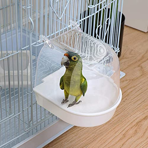 UEETEK Caged Bird Bath Multi Cage Bird Bath Covered for Small Brids Canary Budgies Parrot (Random Color)