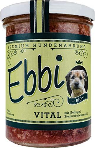 Wuff&Mau Bio Hundefutter Vital/Ebbi mit Geflügelfleisch, Hähnchenherzen, Steckrüben und Kartoffeln Inhalt: 400g Hundenahrung im wiederverschließbarem Glas (4 x 400g)