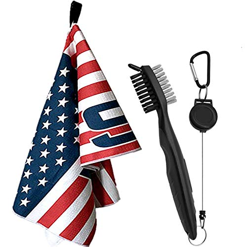 Golf Towels for Golf Bags with Clip and Brush Set 14″x42″ USA Flag Pattern Grommet Personalized Clubs Cleaning Tools for Men Women (USA Flag+Brush)