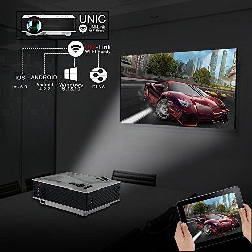 『UNIC UC46 LEDプロジェクター 1080P WIFI無線接続 1200ルーメン IOS10も対応 ホームシアター 会議用 (白)』の8枚目の画像