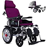 WAMY Foldable Electric Wheelchair with Reclinable Backrest, Longer Range Super Horse Power Dual Motorized Folding Power Wheelchair, Adjustable Headrest & Polymer Li-ion Battery,Purple