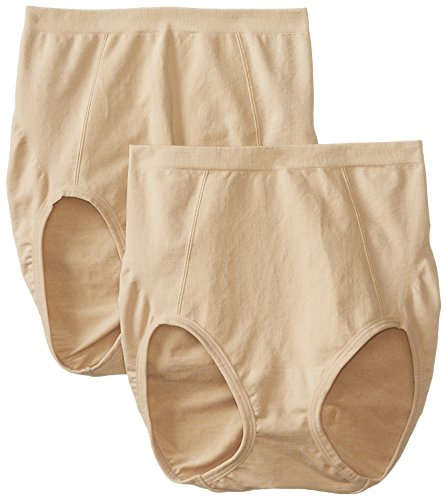 Bali Women's Shapewear Seamless Brief Ultra Control 2-Pack, Nude, X-Large