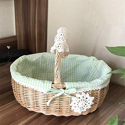 XGFSFL Picnic Basket Storage Basket Willow Storage Basket Basket Storage Box Fruit Basket Flower Basket With Handle Linen Cotton Lined Clothing Storage Basket-Green Gingham_Large