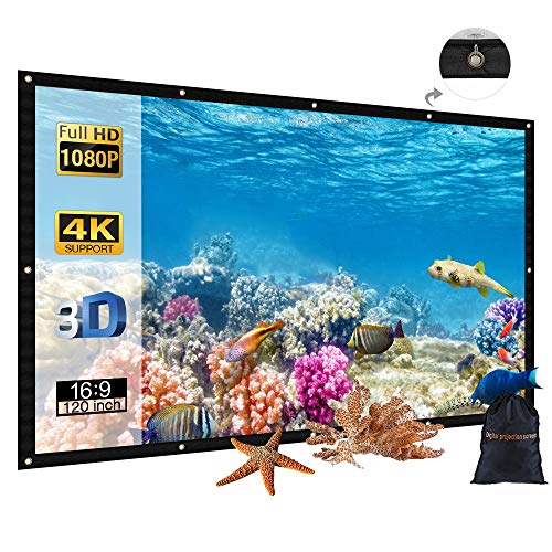 120 inch Portable Projector Screen with Bag,...