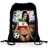 style3 WM 2018 Turnbeutel Rucksack Tasche Flagge WM EM Sport Beutel Festival Fahne Uni Schule, Land:Iran