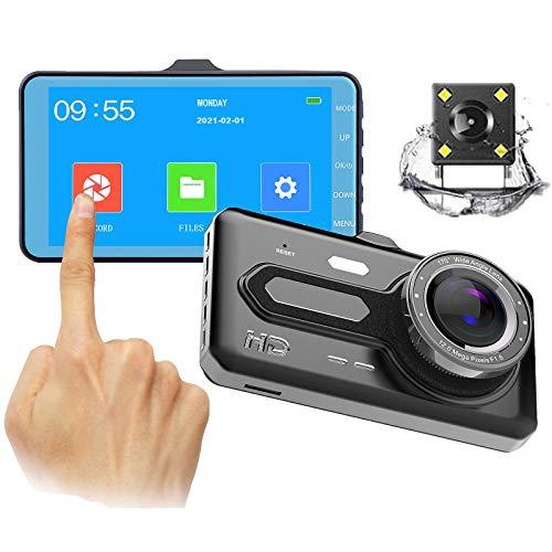 QQ HAO Doble Lente 4 Pulgadas DVR Pantalla Táctil Grabadora, 1080P HD Vision Night Vision Carring Recorder, Monitor De Estacionamiento, Grabación De Bucle, Detección De Movimiento