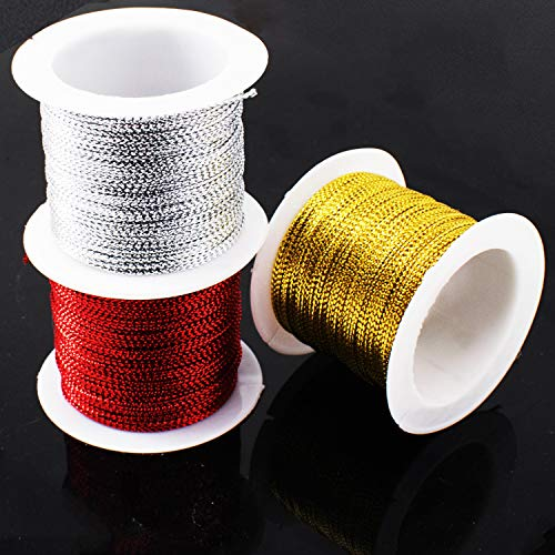 3 Rolls Elastic Metallic Cord 21Yards Gold Tinsel String Rope 21Yards Per Roll Sliver and Red Rope for Hang Tags, Ornament, Ribbon, Jewelry Making, Craft Projects, ID Chain, Key Chain, Gift Wrapping