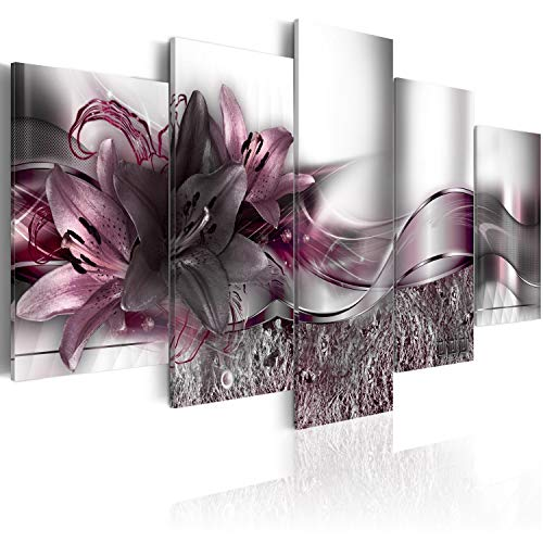 murando - Cuadro de Cristal acrílico 200x100 cm Impresión de 5 Piezas Pintura sobre Vidrio Imagen Gráfica Decoracion de Pared Abstracto - Flores Lirios Abstracto b-A-0273-k-p