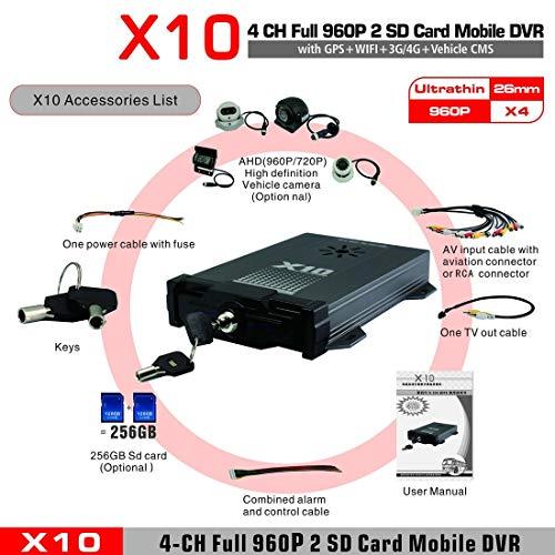 Preisvergleich Produktbild X10S 3G 4G für Android für iOS Leben H.264 AHD 720P CMS-Überwachung bewegliches DVR 4 Kanäle bewegliches DVR für Fahrzeuge