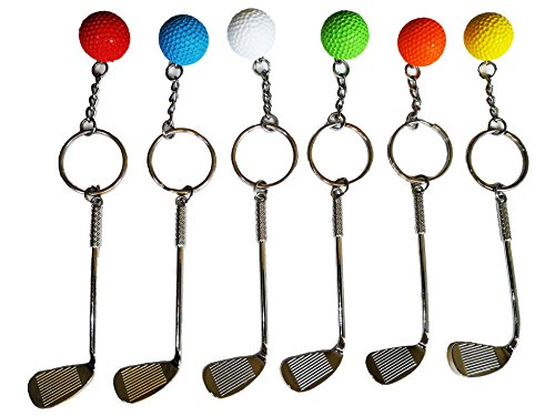 Actopus 6pcs Different Colors Golf Ball Keychain Stick for Back Pack Mens Favors