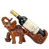 Estante de Vino práctico Hogar Artesanía Regalo Estante de Vino de Elefante Estante de Vino de Resina ecológico Decoración Seguridad Estante de Vino Antideslizante Durable (Color: Brown, Tamaño: 38