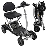 Vive Foldable Mobility Scooter - Electric Powered Portable Wheelchair - 4 Wheel Light and Compact Mobile Travel - TSA Approved - for Seniors, Elderly, Adults - Long Range Battery and Charger Included