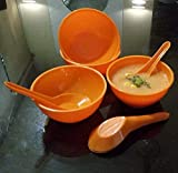 Decornt Soup Bowls with Spoons - Microwave-Safe - Spoon 5.3 Inches Round Shape Set of 4 - Orange Color
