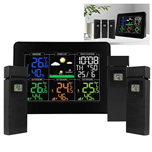 Digitale Senza fili Stazione Metereologica Termometro da esterno per interni Igrometro con Sveglia, Ampio Display a colori Temperatura Monitor di umidità