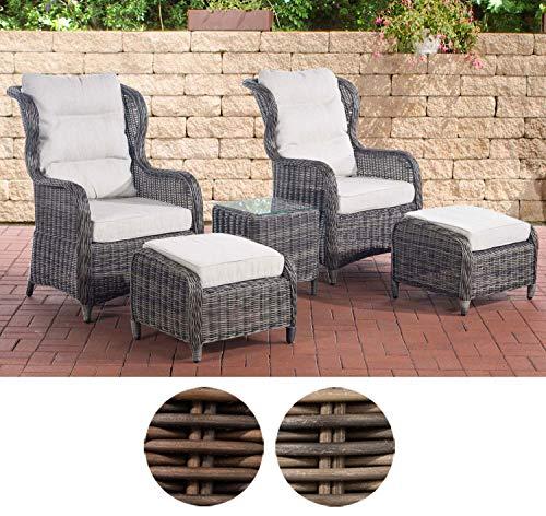 2 Polyrattansessel (Ohrensessel) mit Hockern und mit Beistelltisch für Balkon, Terrasse oder Wintergarten. Stilvolles Garten-Sesselset