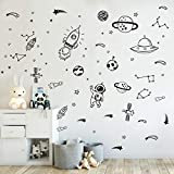 Wall Decor for Boys Room Art Outer Space Star Rockets Planets Stickers Removable Space Wall Decal for Children Bedroom Decoration (Black)