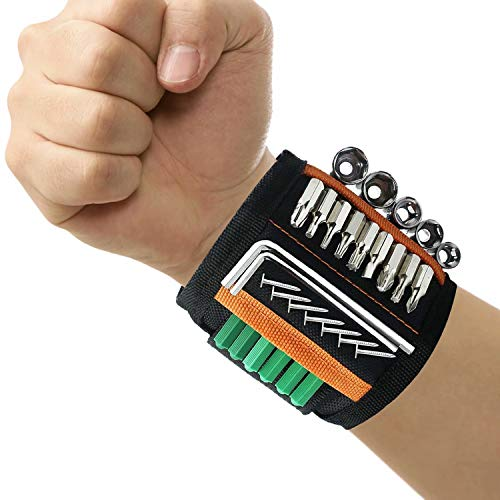 Magnetic Wristband for Holding Screws, Tool Belt with 15 Strong Magnets for Nails, Drill Bits, DIY Handyman, Cool Gadgets for Men, Dad, Husband, Carpenters, Electrician, Carpenter